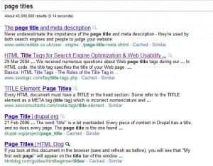 Web page titles
